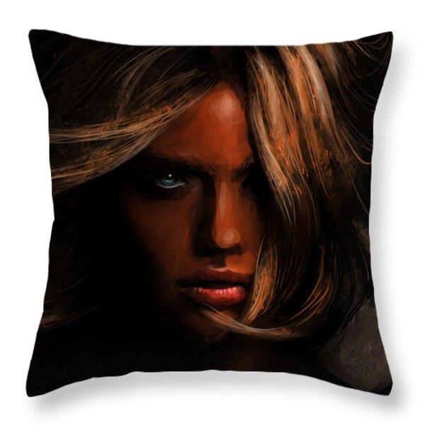 Kate Upton Throw Pillow by Jennifer Hotai