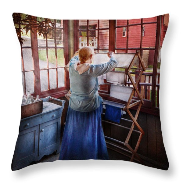 Laundry - Miss Lady Blue  Throw Pillow by Mike Savad