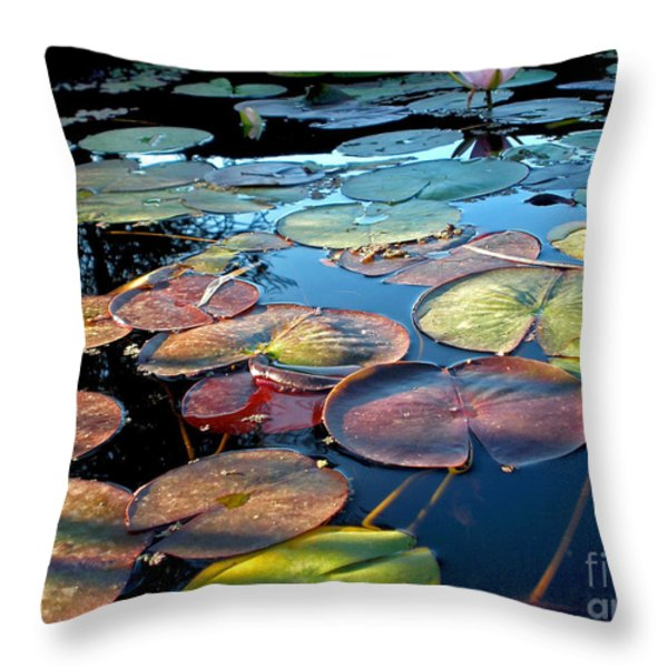 Lily Pads At Sunset Throw Pillow by Kaye Menner