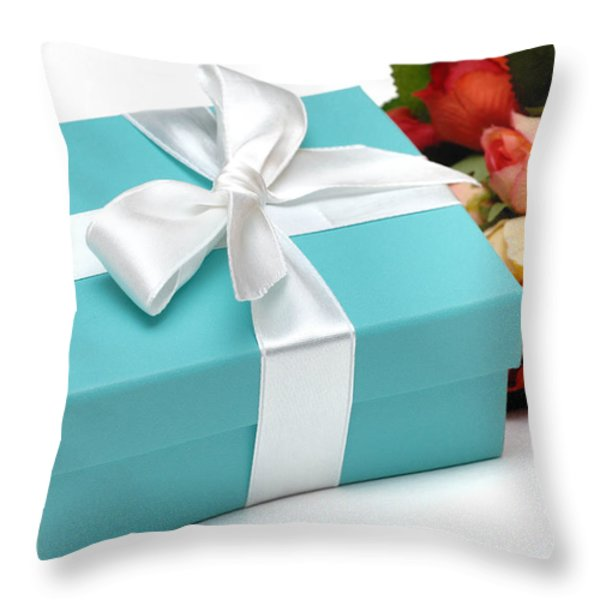 Little Blue Gift Box And Flowers Throw Pillow by Amy Cicconi