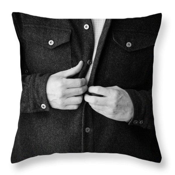 Man Unbuttoning His Shirt Throw Pillow by Edward Fielding
