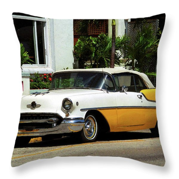 Miami Beach Classic Car With Watercolor Effect Throw Pillow by Frank Romeo