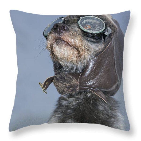 Mixed Breed Dog Dressed In Leather Cap Throw Pillow by Darwin Wiggett