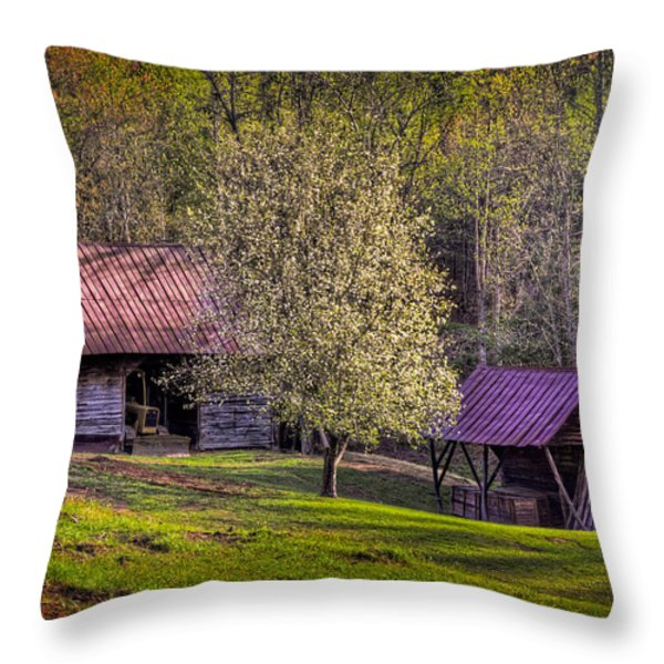 Mountain Barns In North Carolina Throw Pillow by Debra and Dave Vanderlaan