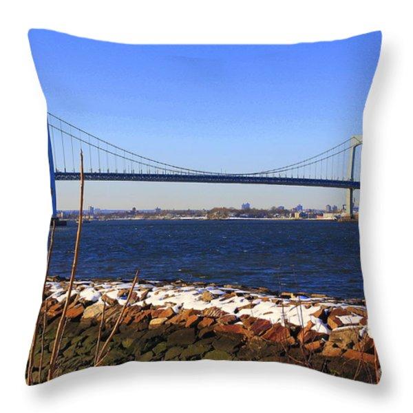 New York's Throgs Neck Bridge Throw Pillow by  Photographic Art and Design by Dora Sofia Caputo