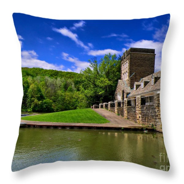 North Park Boathouse In Hdr Throw Pillow by Amy Cicconi