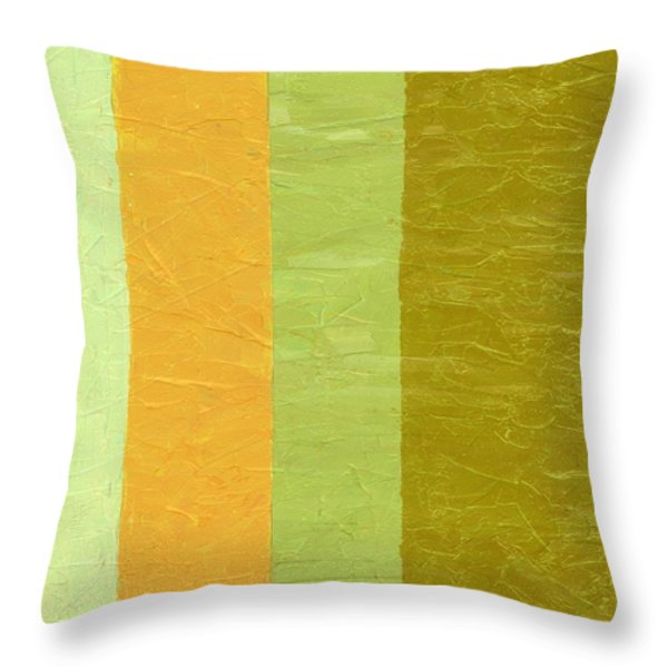 Olive And Peach Throw Pillow by Michelle Calkins