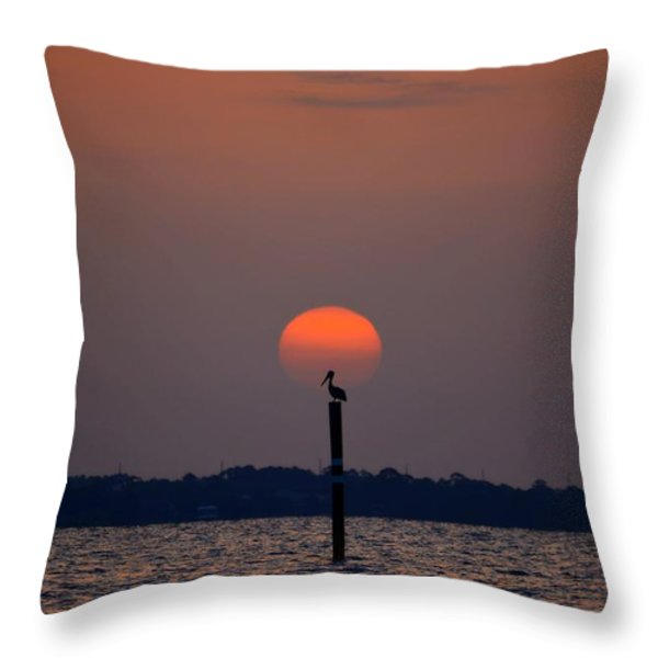 Pelican Sunrise Silhouette On Sound Throw Pillow by Jeff at JSJ Photography