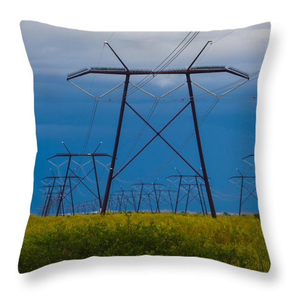 Power Towers Throw Pillow by Ed Gleichman