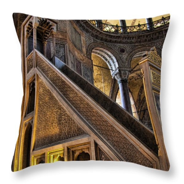 Pulpit In The Aya Sofia Museum In Istanbul Throw Pillow by David Smith