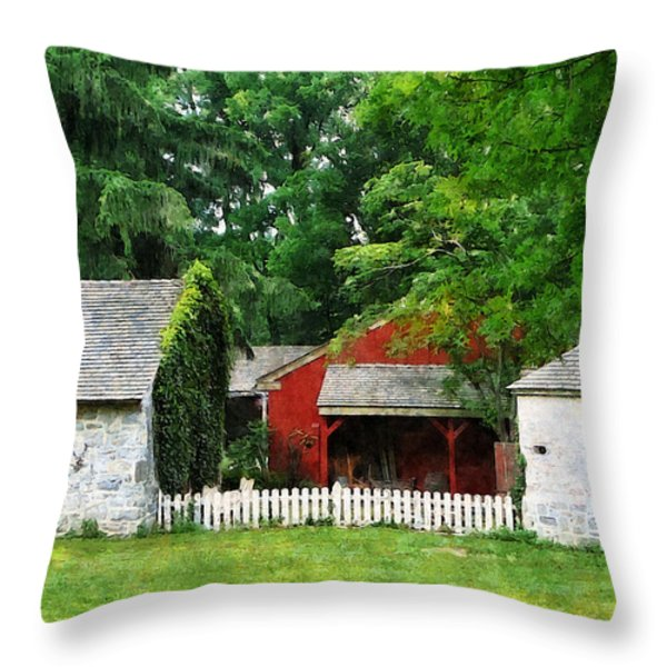 Red Farm Shed Throw Pillow by Susan Savad