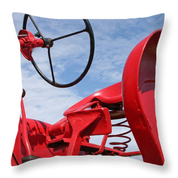 Red Tractor Throw Pillow by Heather Allen