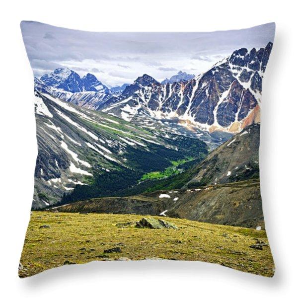 Rocky Mountains in Jasper National Park Throw Pillow by Elena Elisseeva