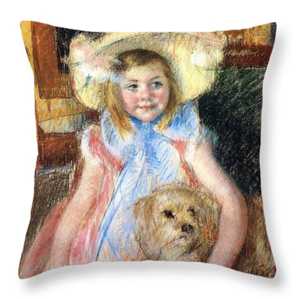 Sara Holding Her Dog Throw Pillow by Marry Cassatt