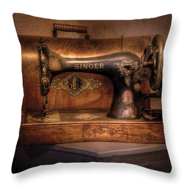 Sewing Machine  - Singer  Throw Pillow by Mike Savad