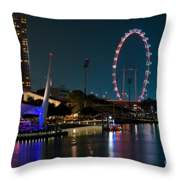 Singapore Flyer At Night Throw Pillow by Rick Piper Photography