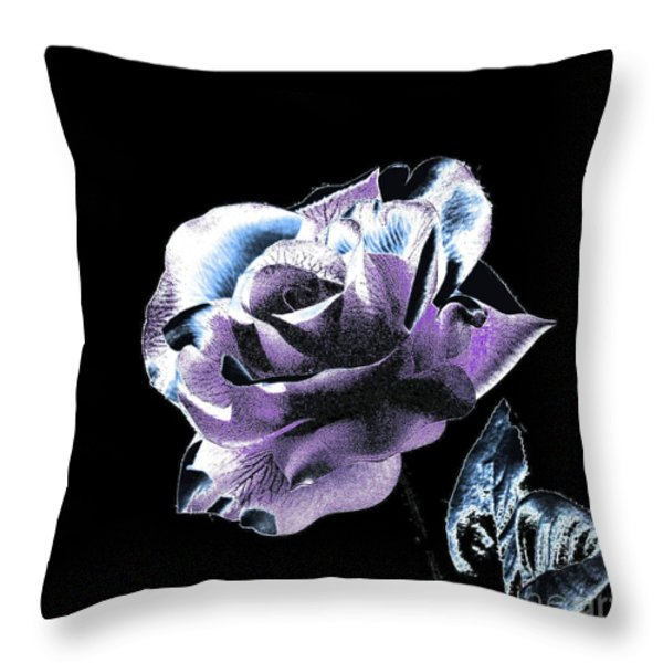 Single Rose V Throw Pillow by Annie Zeno