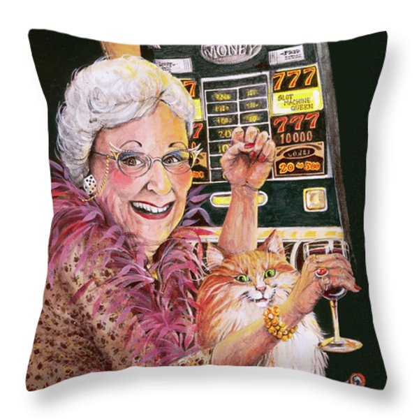 Slot Machine Queen Throw Pillow by Shelly Wilkerson