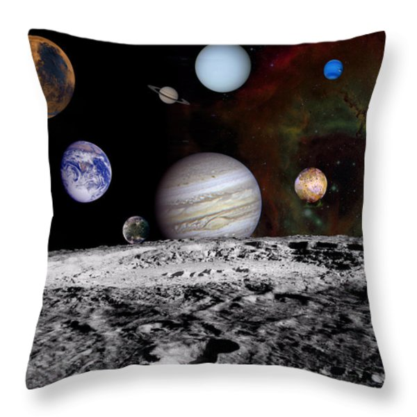 Solar System Montage Of Voyager Images Throw Pillow by Movie Poster Prints