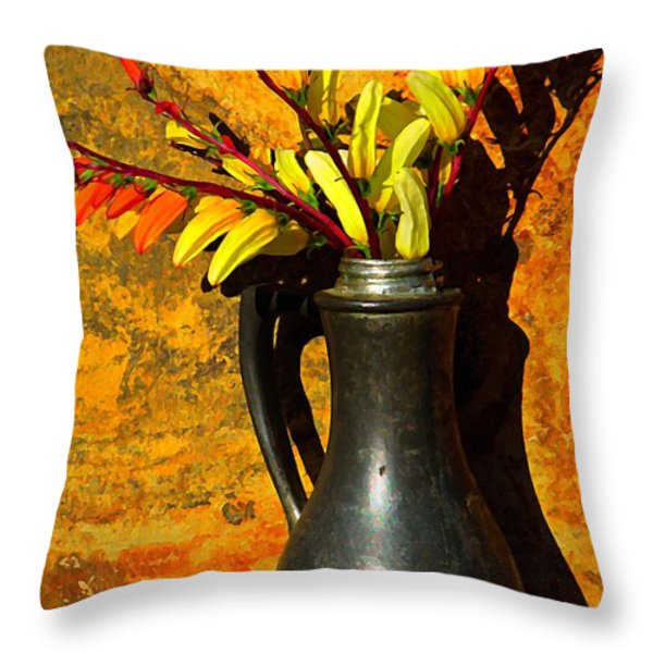 Spanish Flags In Pewter  Throw Pillow by Chris Berry
