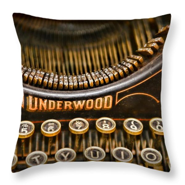 Steampunk - Typewriter - Underwood Throw Pillow by Paul Ward