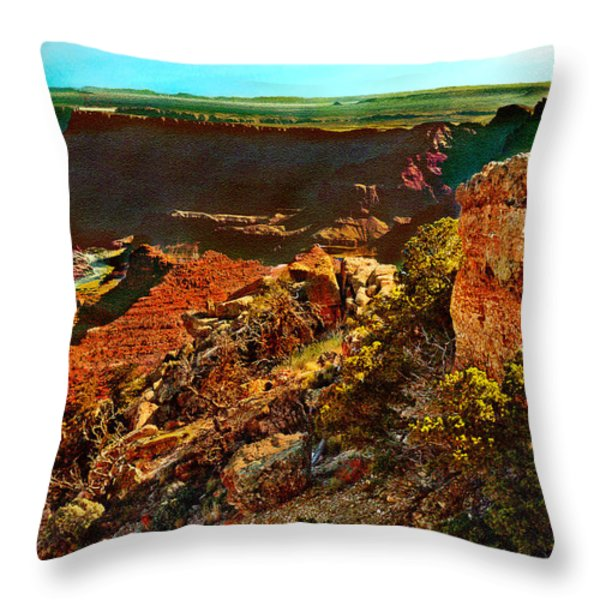Sunrise Lipan Point Grand Canyon Throw Pillow by Bob and Nadine Johnston