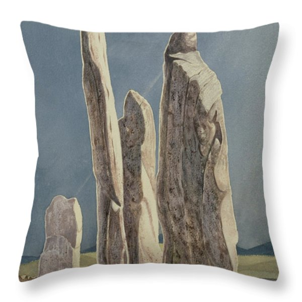 Tall Stones Of Callanish Isle Of Lewis Throw Pillow by Evangeline Dickson