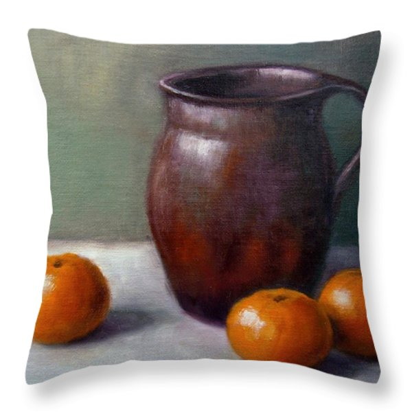 Tangerines Throw Pillow by Janet King