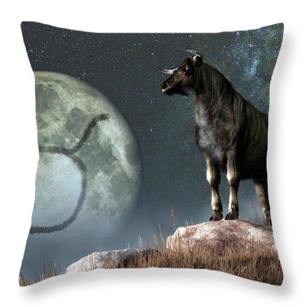 Taurus Zodiac Symbol Throw Pillow by Daniel Eskridge