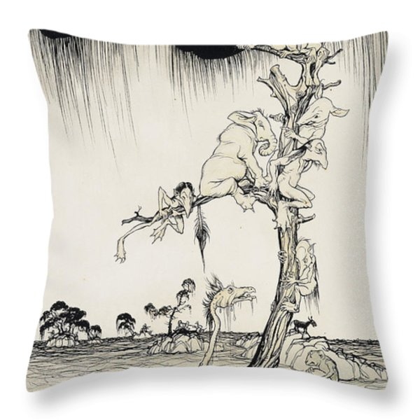 The Animals You Know Are Not As They Are Now Throw Pillow by Arthur Rackham