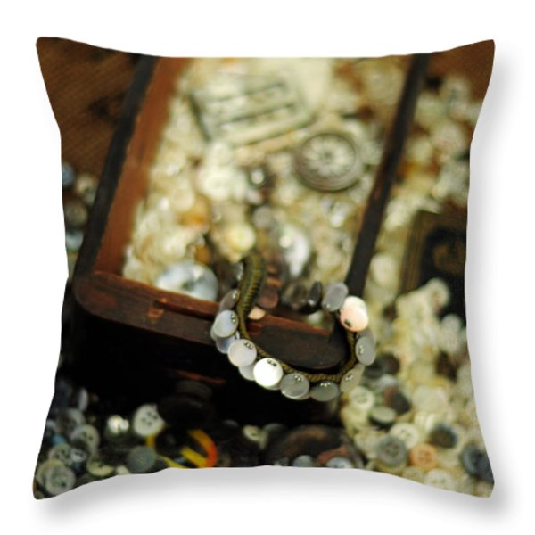 The Button Drawer Throw Pillow by Rebecca Sherman