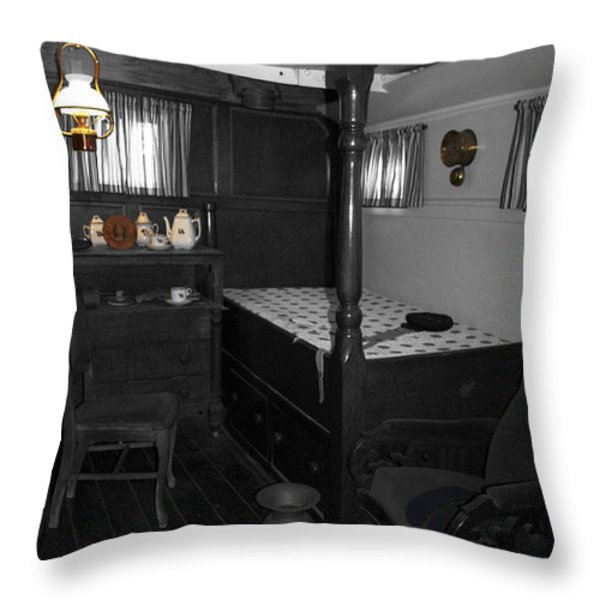 The Captains Quarters Throw Pillow by Cheryl Young