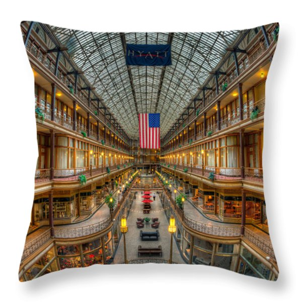 The Cleveland Arcade Vii Throw Pillow by Clarence Holmes