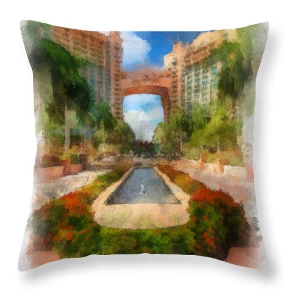 The Royal Towers Atlantis Resort Throw Pillow by Amy Cicconi