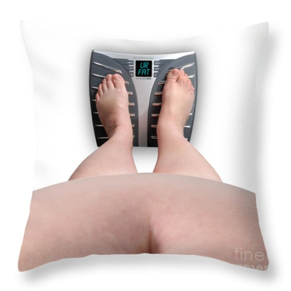 The Scale Says Series Ur Fat Throw Pillow by Amy Cicconi