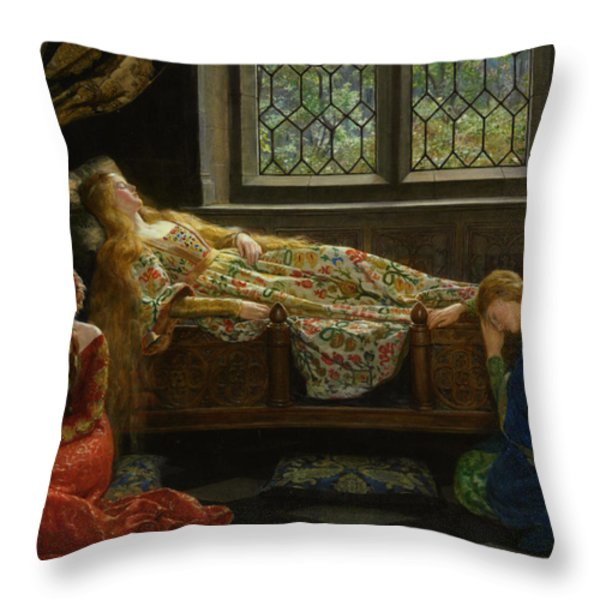 The Sleeping Beauty Throw Pillow by John Collier