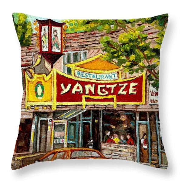 The Yangtze Restaurant On Van Horne Avenue Montreal  Throw Pillow by Carole Spandau