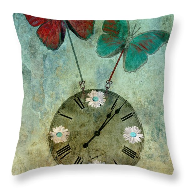 time flies Throw Pillow by Aimelle