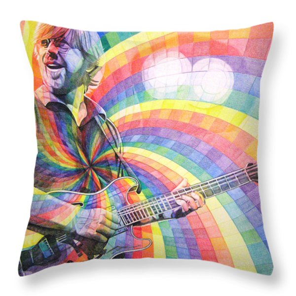 Trey Anastasio Rainbow Throw Pillow by Joshua Morton