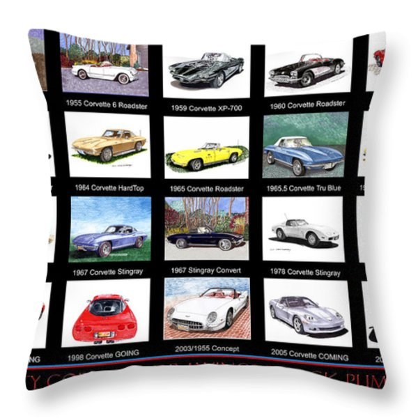 Twenty Corvettes Throw Pillow by Jack Pumphrey