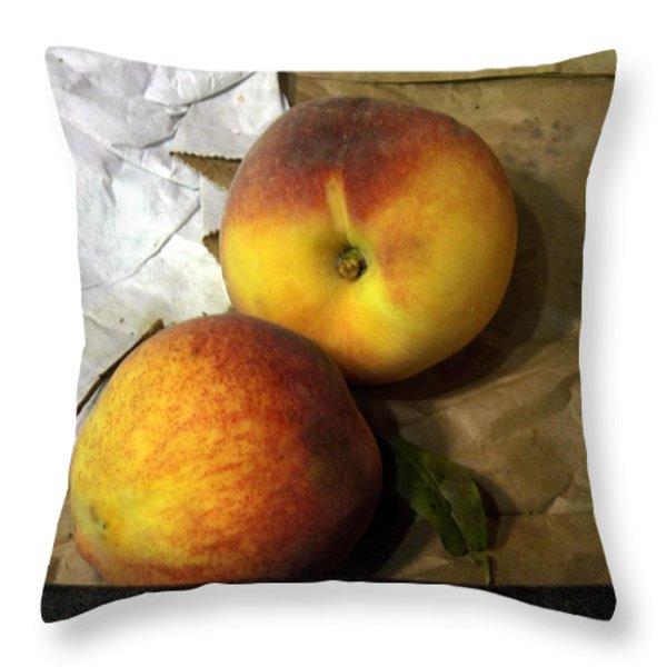 Two Peaches Throw Pillow by Miriam Danar