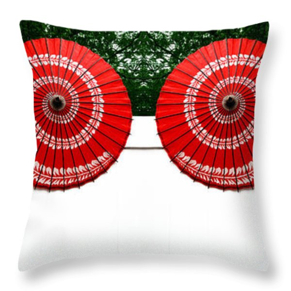 Umbrellas On A Fence Throw Pillow by Amy Cicconi
