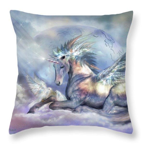 Unicorn Of Peace Throw Pillow by Carol Cavalaris