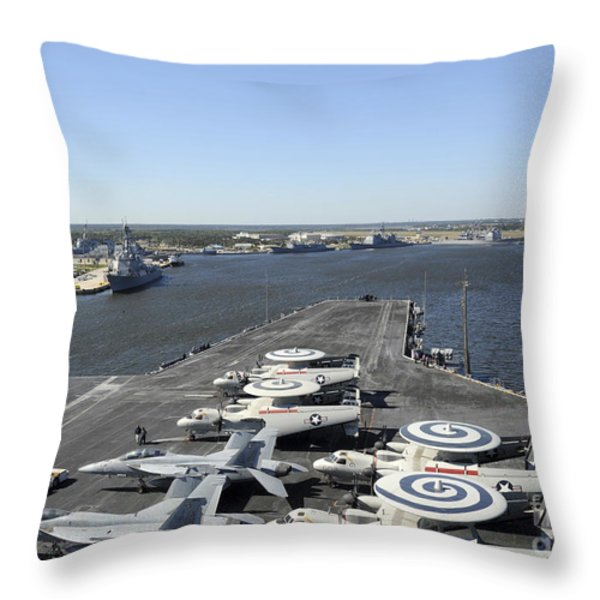 Uss Enterprise Arrives At Naval Station Throw Pillow by Stocktrek Images