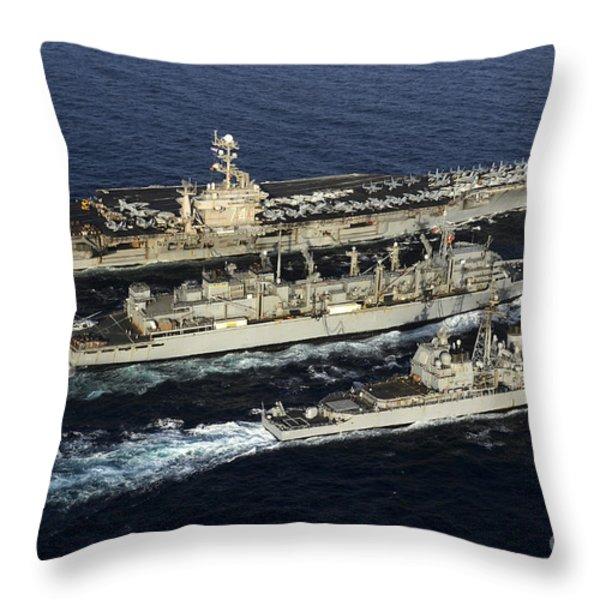 Uss John C. Stennis, Uss Mobile Bay Throw Pillow by Stocktrek Images