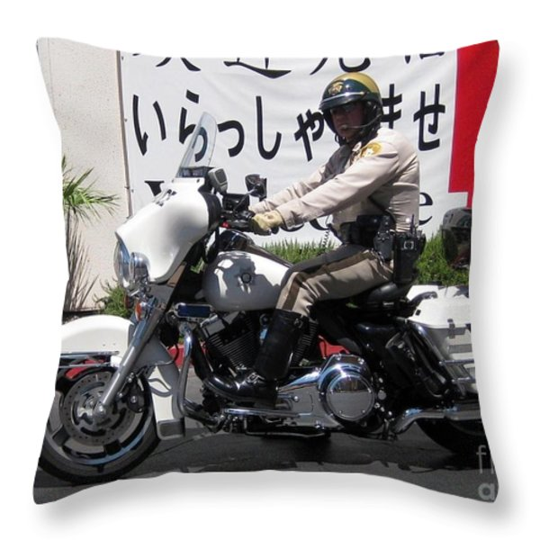 Vegas Motorcycle Cop Throw Pillow by John Malone