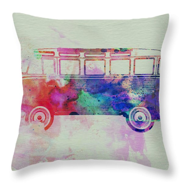 Vw Bus Watercolor Throw Pillow by Naxart Studio