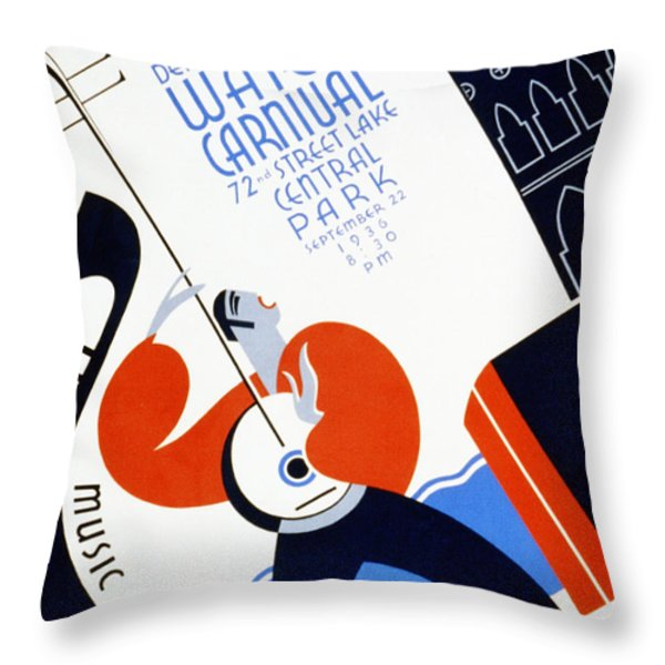 Water Carnival Poster 1936 Throw Pillow by Digital Reproductions