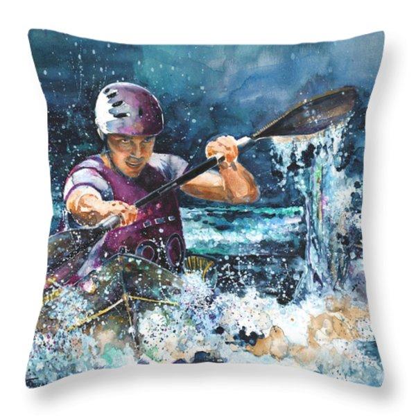 Water Fight Throw Pillow by Miki De Goodaboom