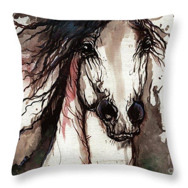 Wild Arabian Horse Throw Pillow by Angel  Tarantella